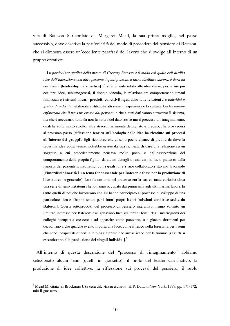 Anteprima della tesi: Forme amorfe in un campo vitale: i gruppi creativi nella vita e nel pensiero di Gregory Bateson, Pagina 2