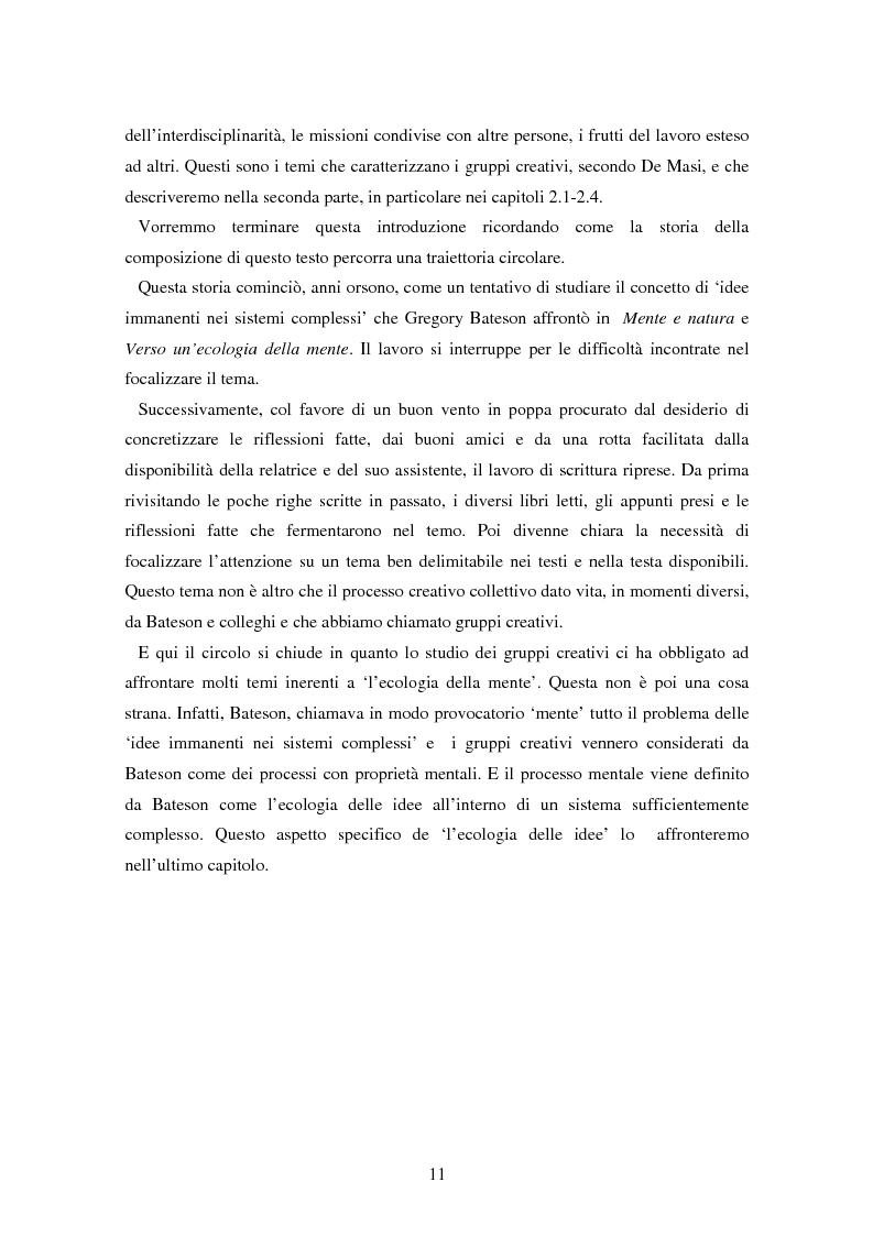 Anteprima della tesi: Forme amorfe in un campo vitale: i gruppi creativi nella vita e nel pensiero di Gregory Bateson, Pagina 3