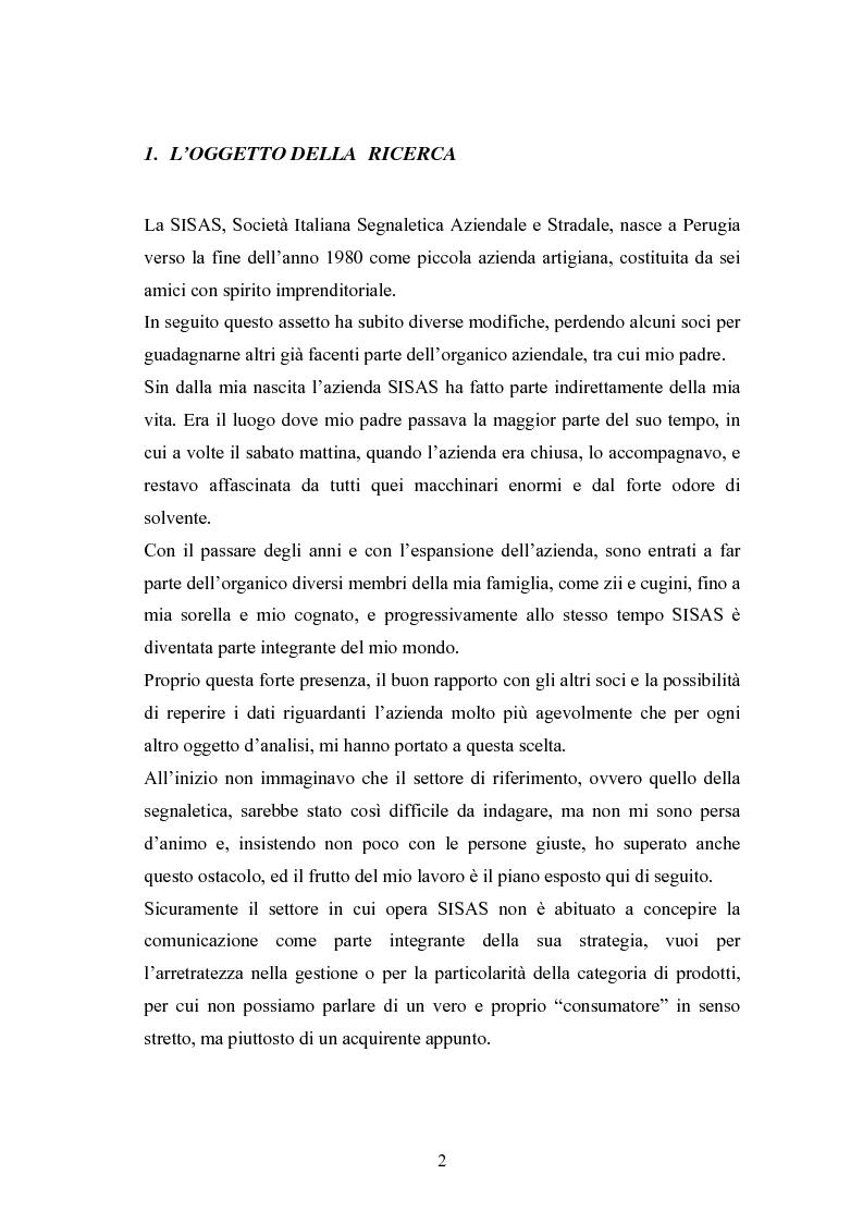 Anteprima della tesi: Piano di Comunicazione del brand ''SISAS'', Pagina 2