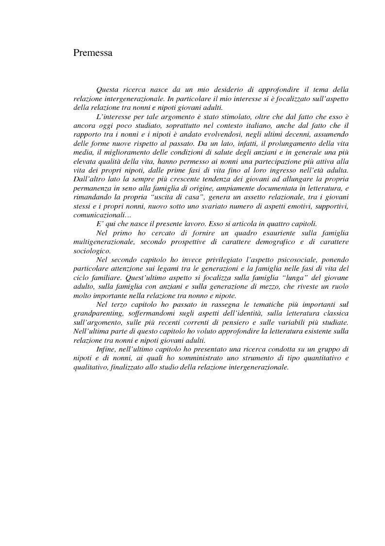 Anteprima della tesi: La relazione intergenerazionale: una ricerca sul legame tra i nonni e i nipoti giovani adulti, Pagina 1