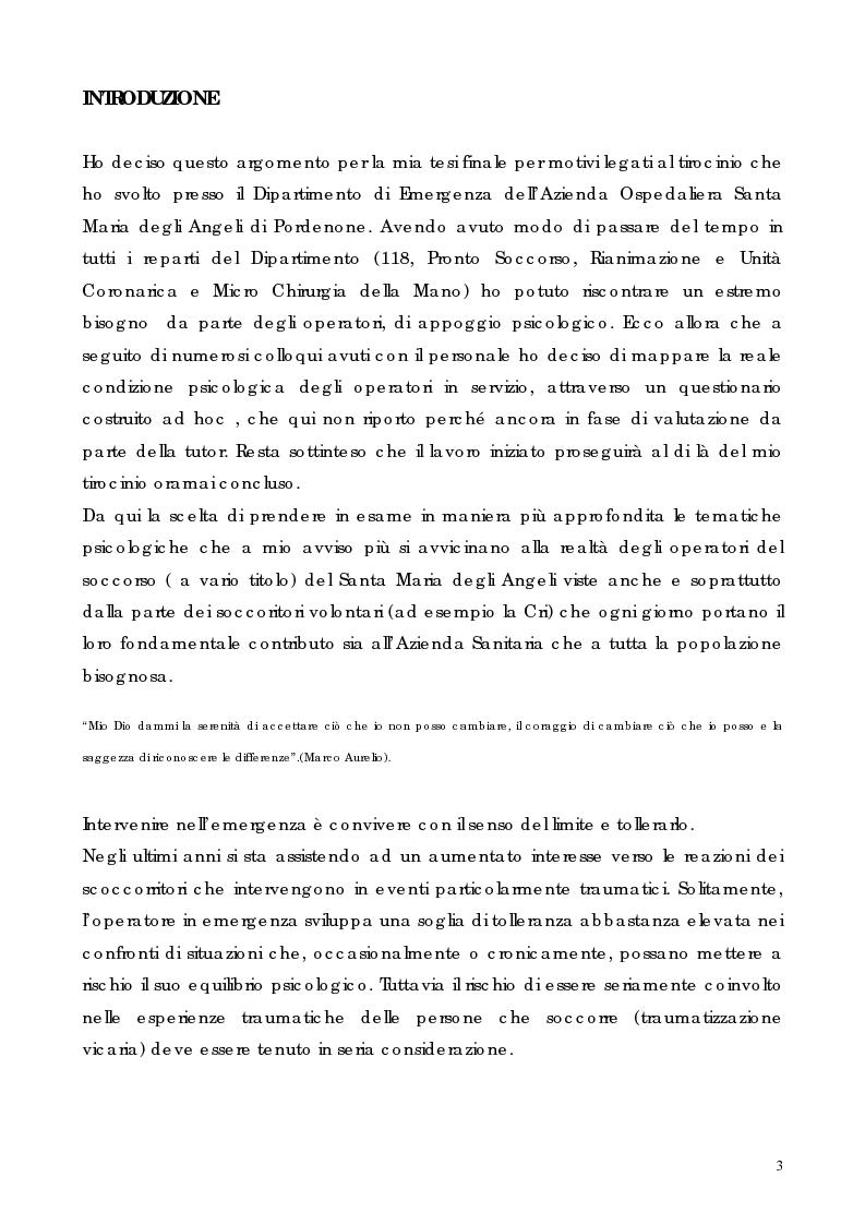 Anteprima della tesi: Stress, Burnout, Disturbo Post-Traumatico da Stress e Attività di Soccorso, Pagina 1