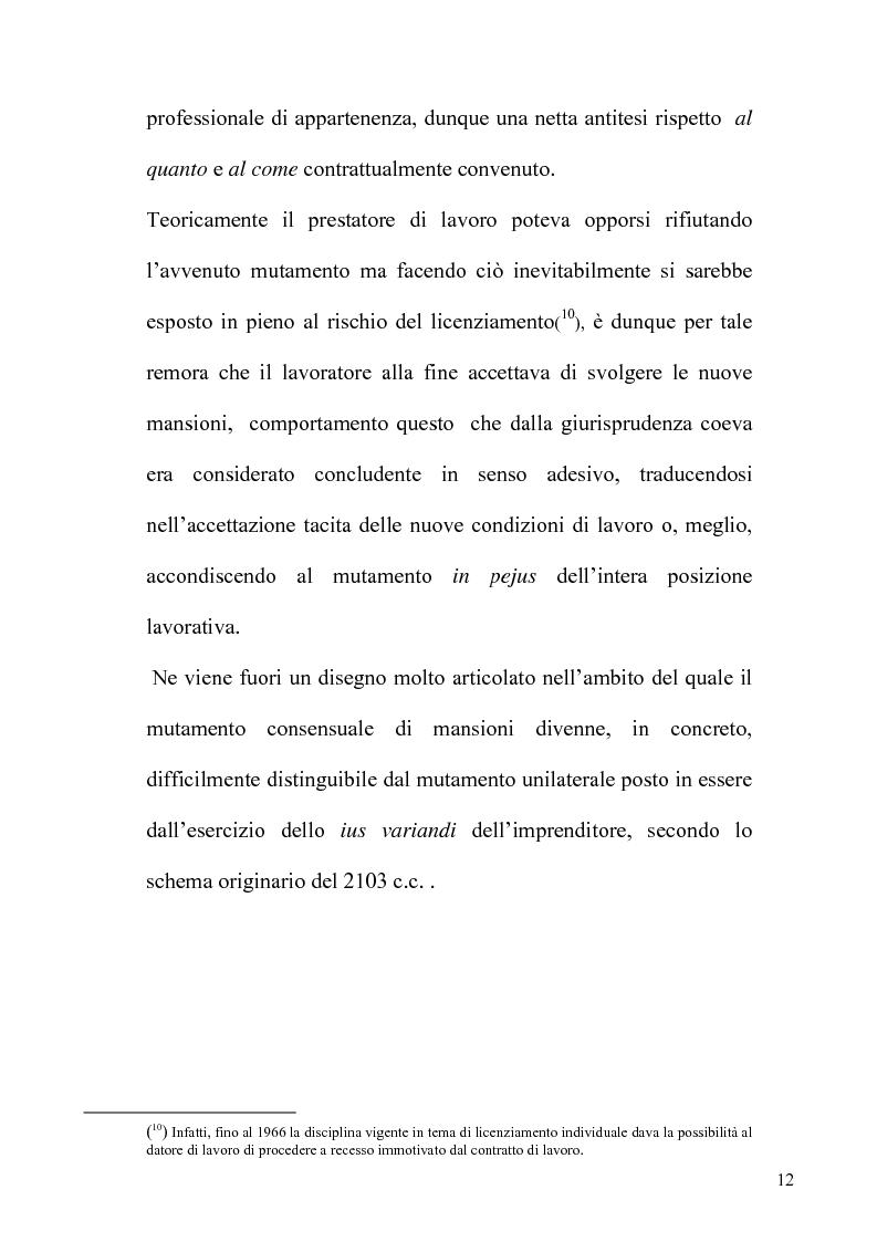 Anteprima della tesi: Orientamenti giurisprudenziali e dottrinali sull'art. 2103 del c.c. in tema di mansioni del lavoratore, Pagina 12