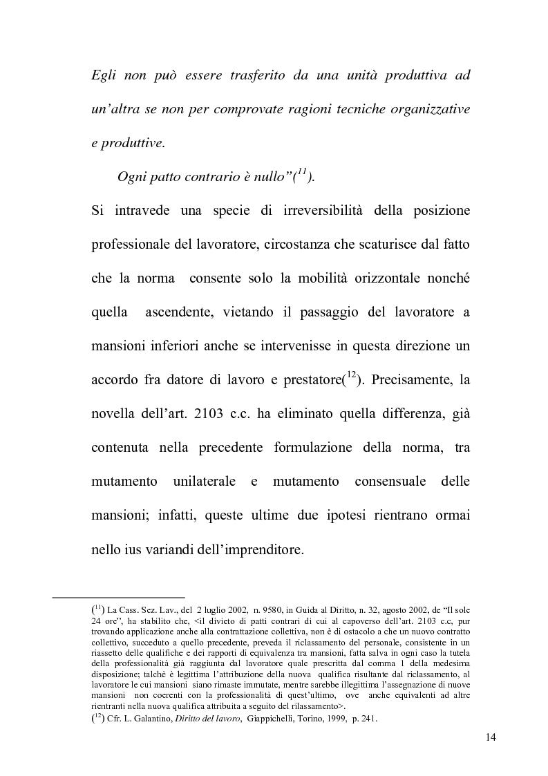 Anteprima della tesi: Orientamenti giurisprudenziali e dottrinali sull'art. 2103 del c.c. in tema di mansioni del lavoratore, Pagina 14