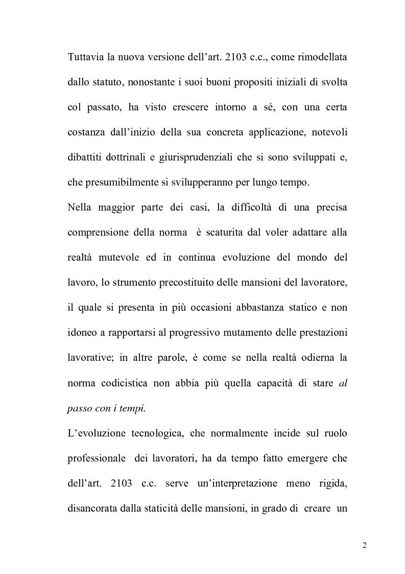 Anteprima della tesi: Orientamenti giurisprudenziali e dottrinali sull'art. 2103 del c.c. in tema di mansioni del lavoratore, Pagina 2