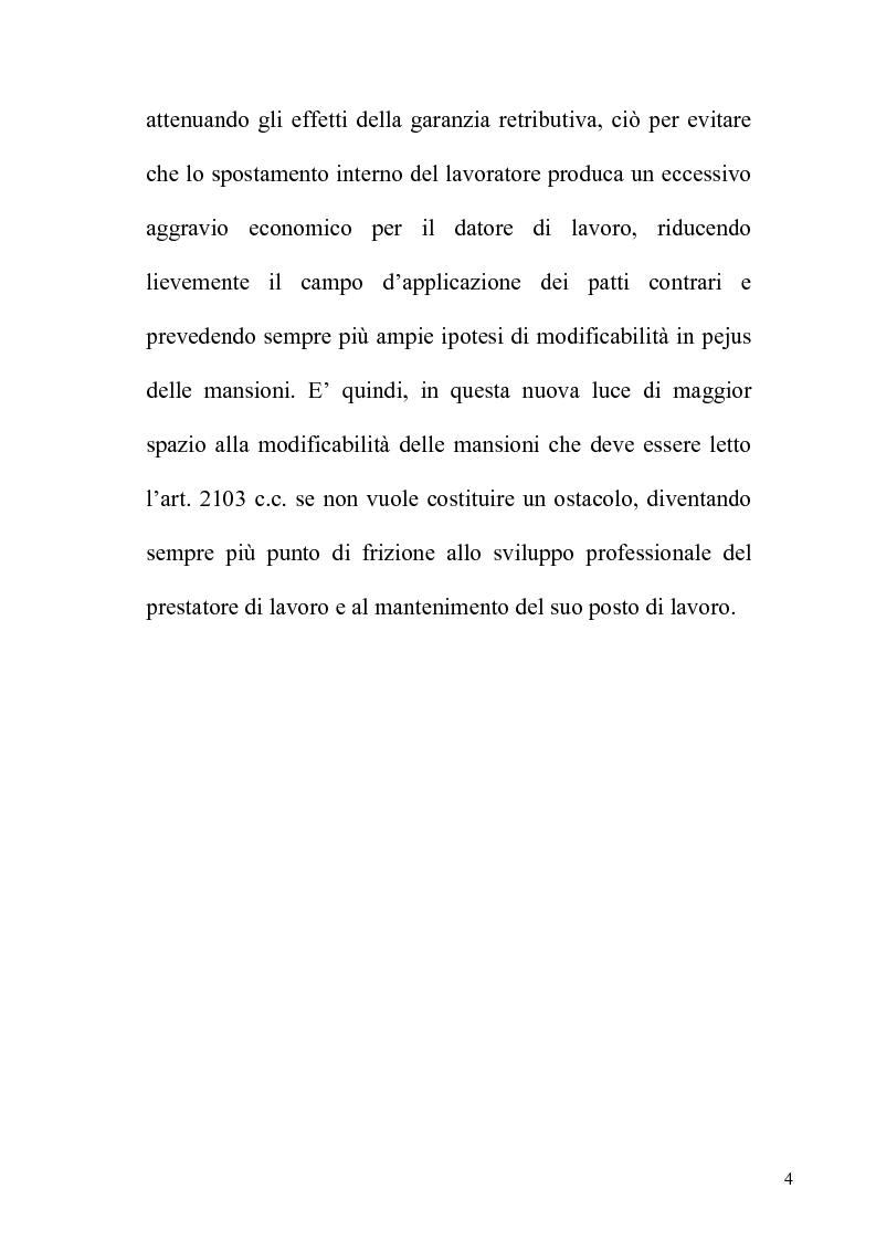Anteprima della tesi: Orientamenti giurisprudenziali e dottrinali sull'art. 2103 del c.c. in tema di mansioni del lavoratore, Pagina 4