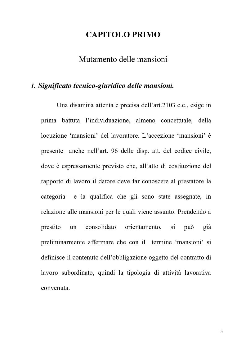 Anteprima della tesi: Orientamenti giurisprudenziali e dottrinali sull'art. 2103 del c.c. in tema di mansioni del lavoratore, Pagina 5