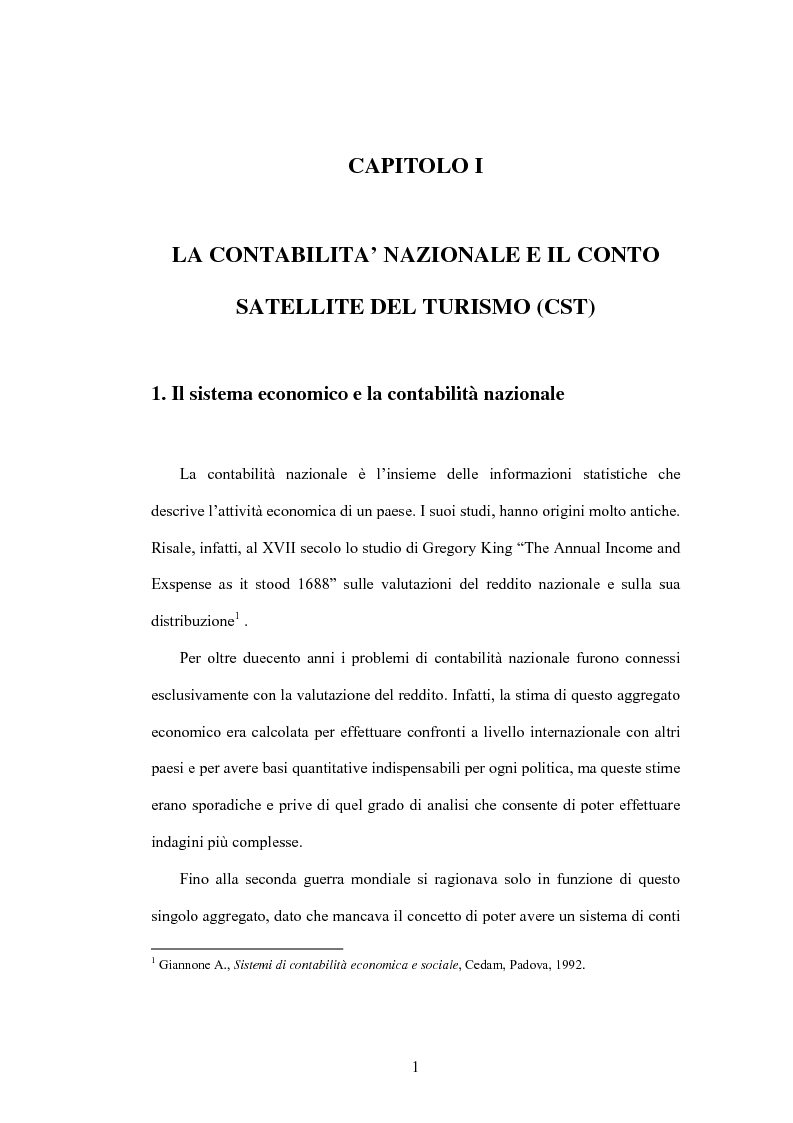 Anteprima della tesi: Lo sviluppo di un Conto Satellite del Turismo, Pagina 1