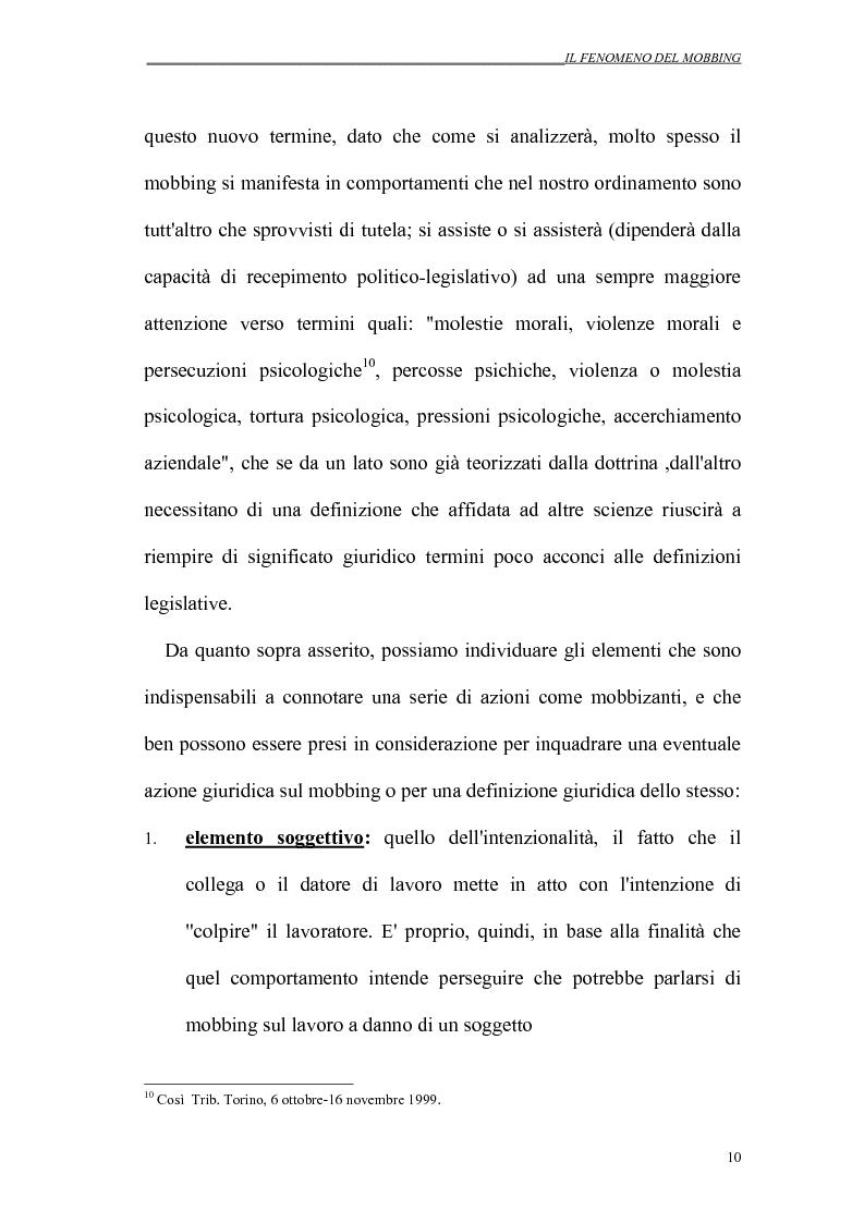 Anteprima della tesi: Il mobbing nei rapporti di lavoro, Pagina 10