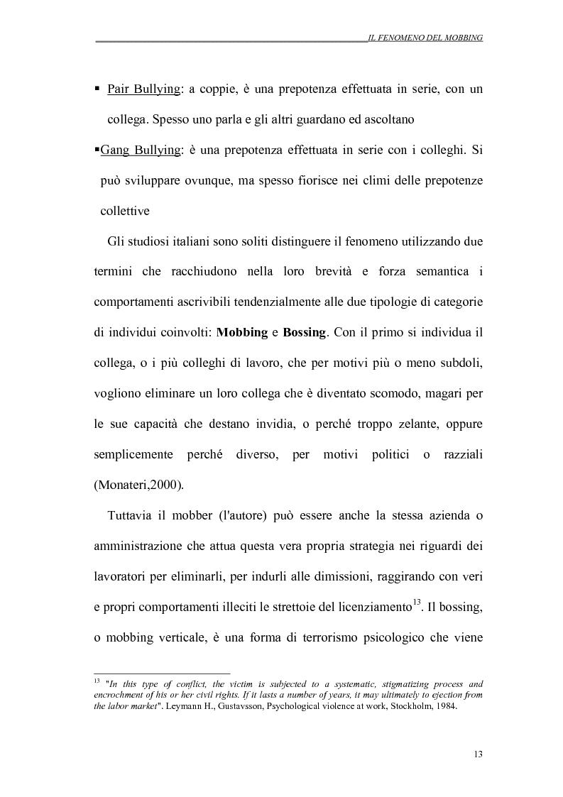 Anteprima della tesi: Il mobbing nei rapporti di lavoro, Pagina 13