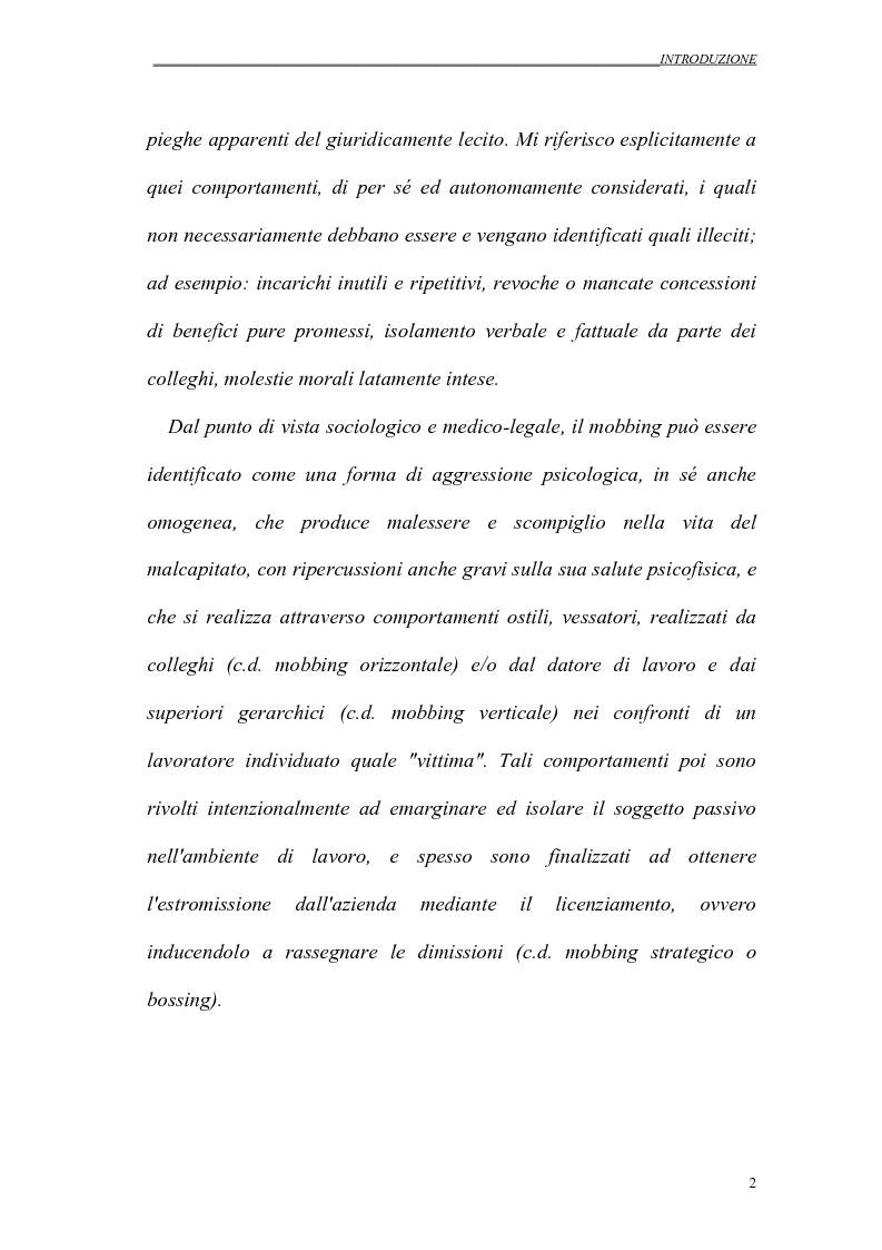 Anteprima della tesi: Il mobbing nei rapporti di lavoro, Pagina 2