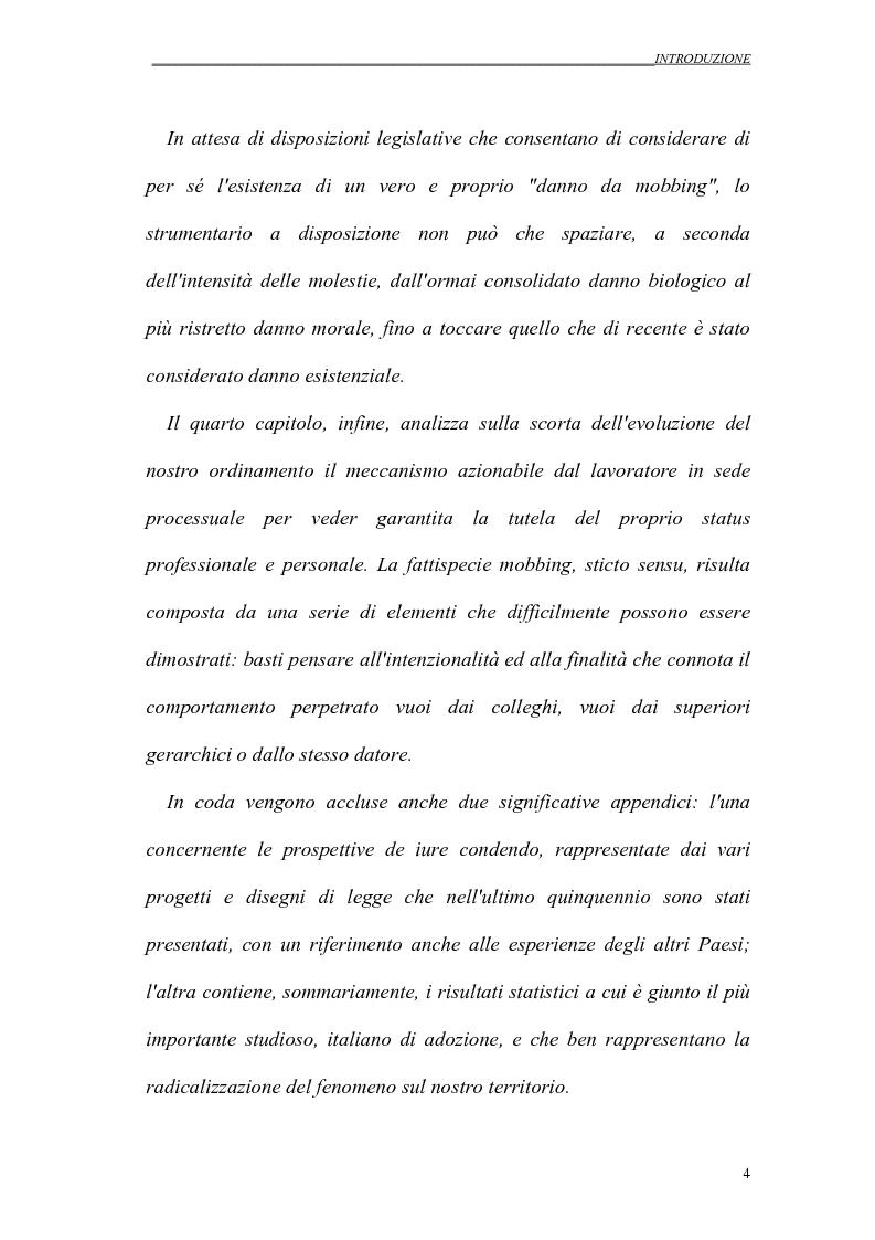 Anteprima della tesi: Il mobbing nei rapporti di lavoro, Pagina 4
