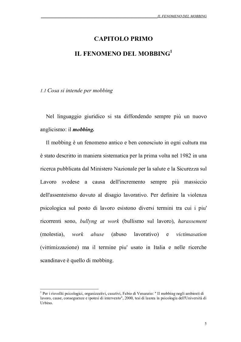 Anteprima della tesi: Il mobbing nei rapporti di lavoro, Pagina 5