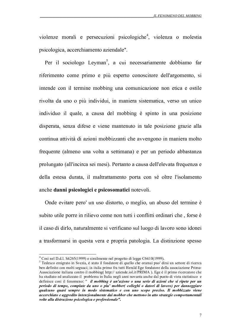 Anteprima della tesi: Il mobbing nei rapporti di lavoro, Pagina 7