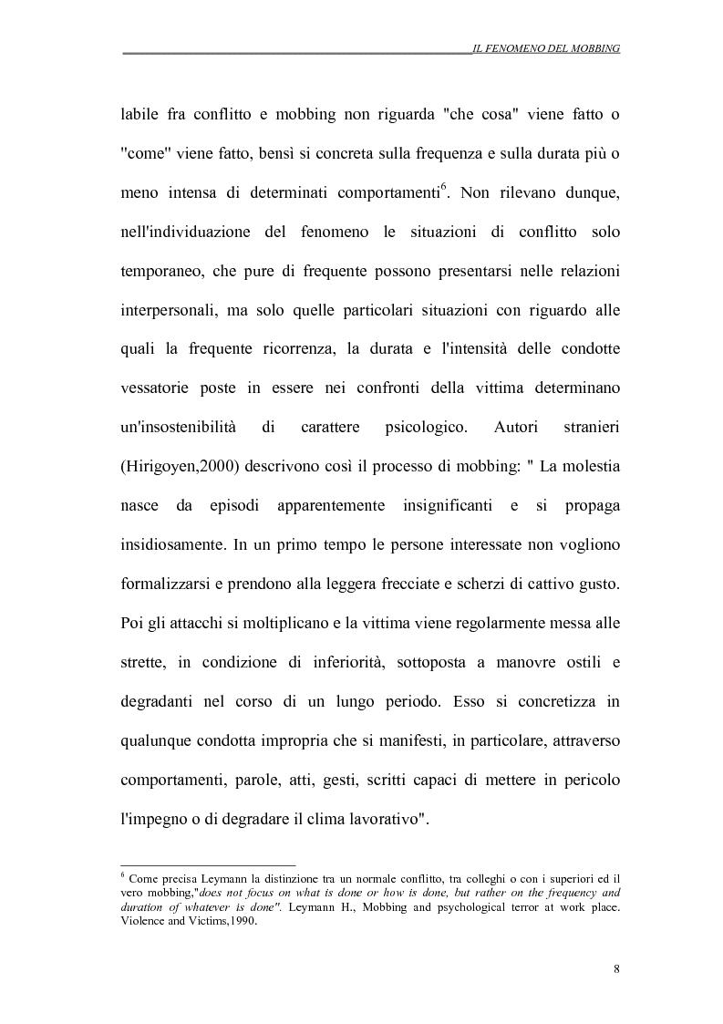 Anteprima della tesi: Il mobbing nei rapporti di lavoro, Pagina 8