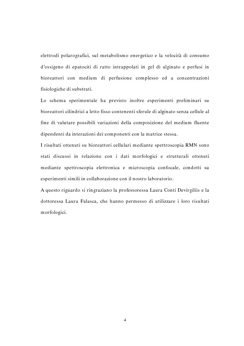Anteprima della tesi: Studio mediante spettroscopia 1H e 31P RMN, del metabolismo energetico di epatociti intrappolati in gel di alginato e perfusi in bioreattore, Pagina 4