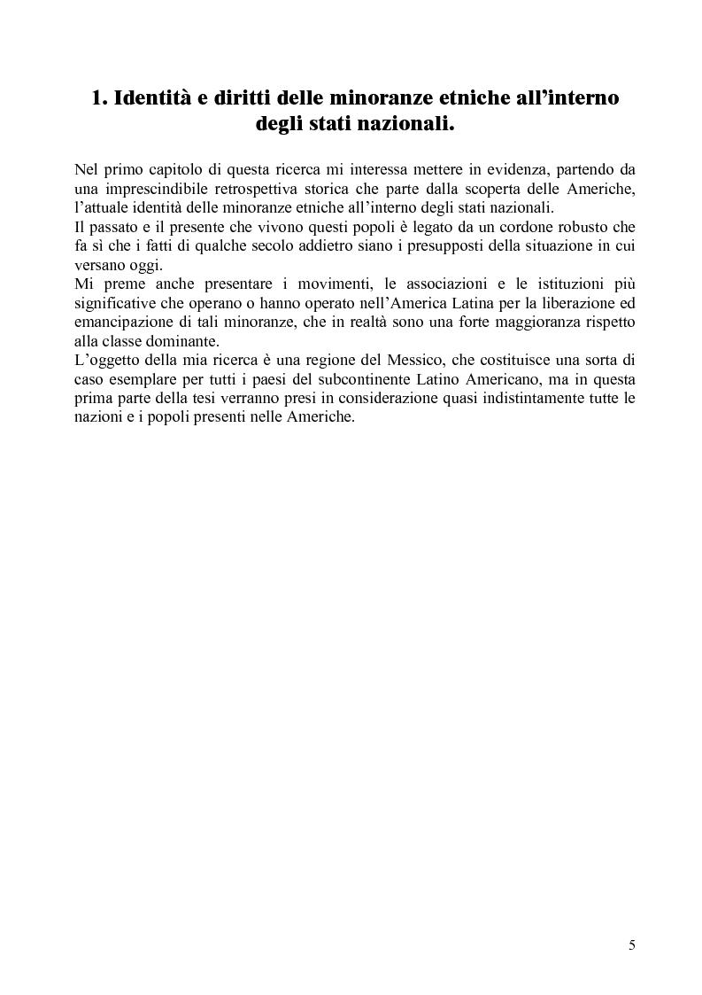 Anteprima della tesi: Identità e diritti delle minoranze etniche in Messico: la Costa Chica di Oaxaca e Guerrero, Pagina 1