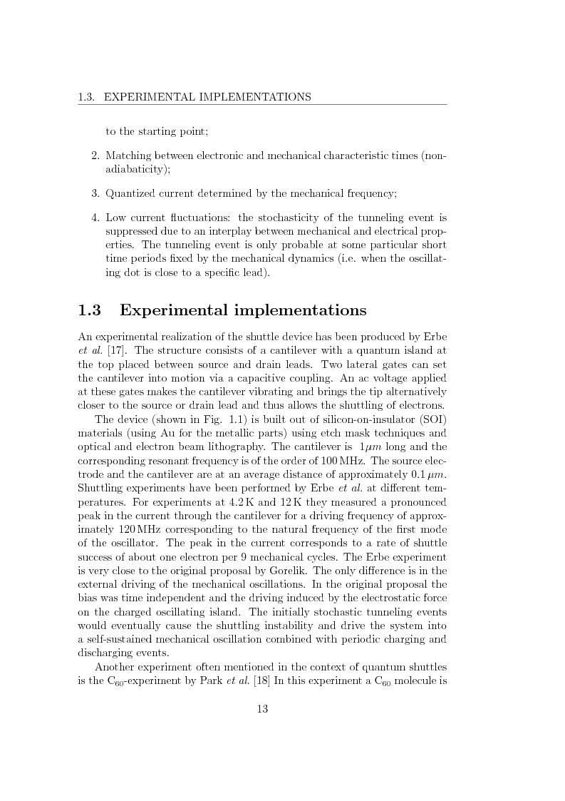 Anteprima della tesi: Dynamics of Shuttle Devices, Pagina 3