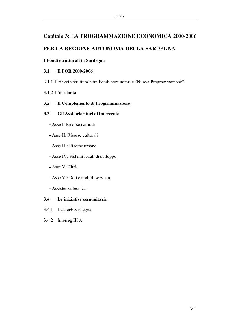 Indice della tesi: I Fondi strutturali: norme e procedure di utilizzo con particolare riferimento alla Regione Sardegna, Pagina 3