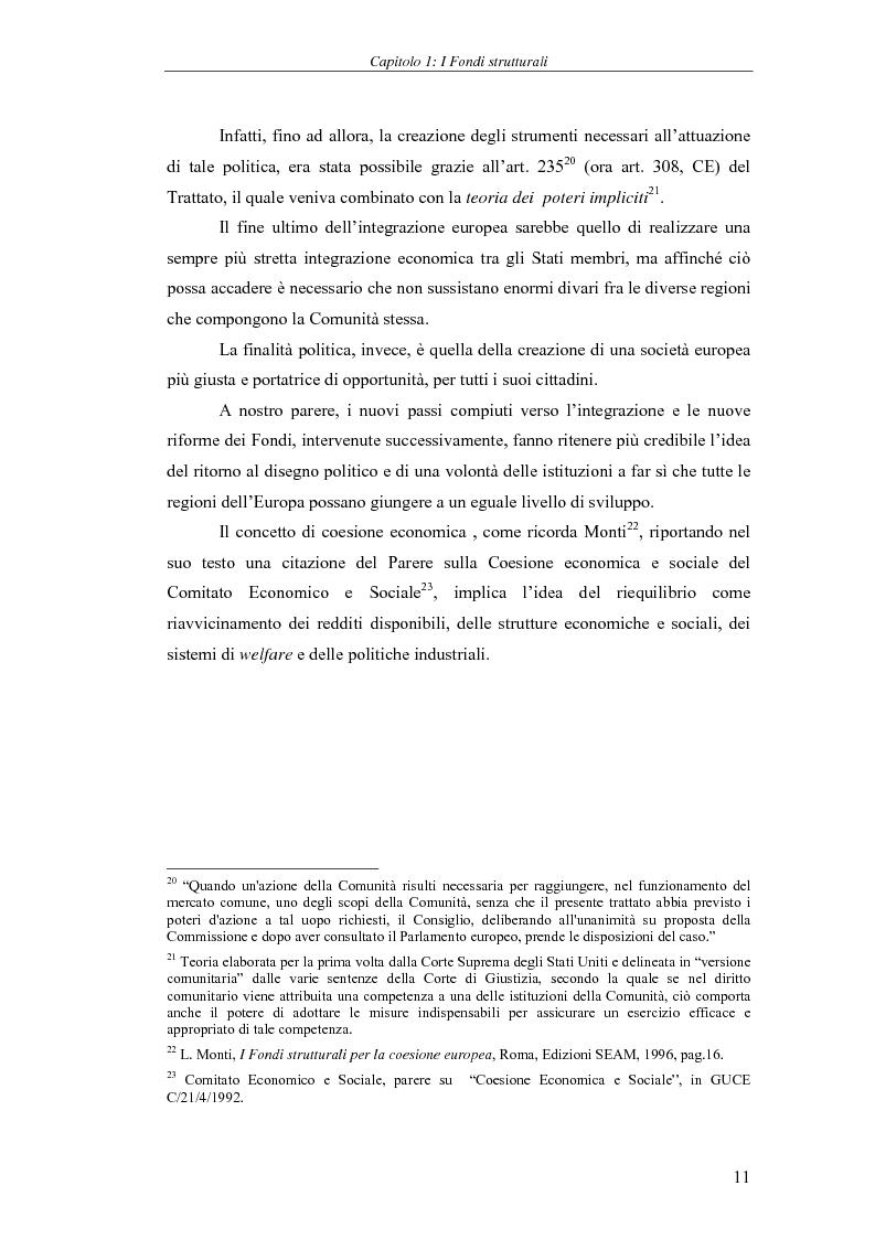 Anteprima della tesi: I Fondi strutturali: norme e procedure di utilizzo con particolare riferimento alla Regione Sardegna, Pagina 11