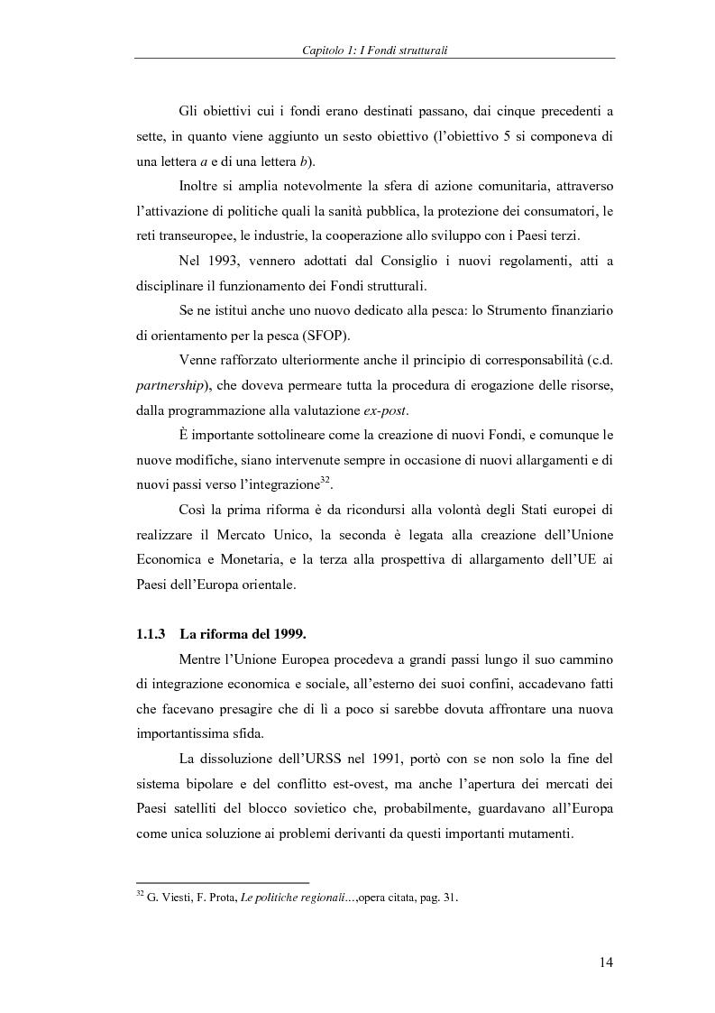Anteprima della tesi: I Fondi strutturali: norme e procedure di utilizzo con particolare riferimento alla Regione Sardegna, Pagina 14