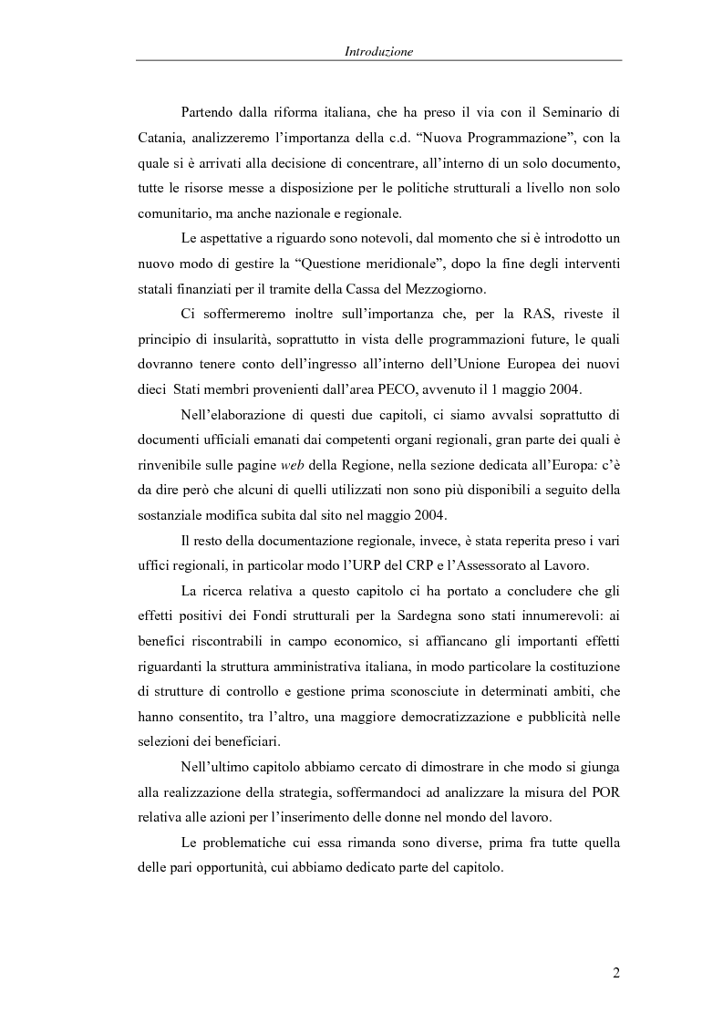 Anteprima della tesi: I Fondi strutturali: norme e procedure di utilizzo con particolare riferimento alla Regione Sardegna, Pagina 2