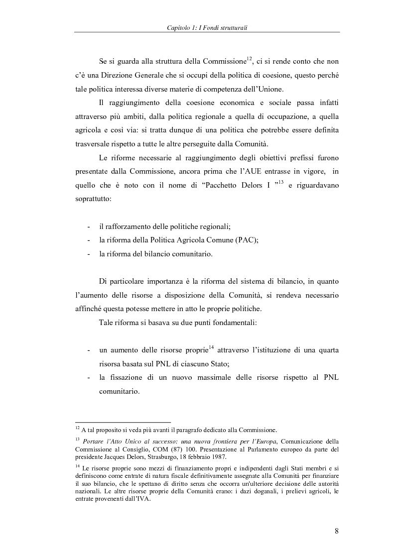 Anteprima della tesi: I Fondi strutturali: norme e procedure di utilizzo con particolare riferimento alla Regione Sardegna, Pagina 8