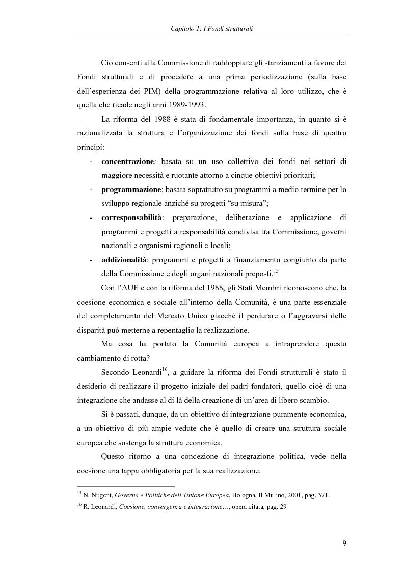 Anteprima della tesi: I Fondi strutturali: norme e procedure di utilizzo con particolare riferimento alla Regione Sardegna, Pagina 9