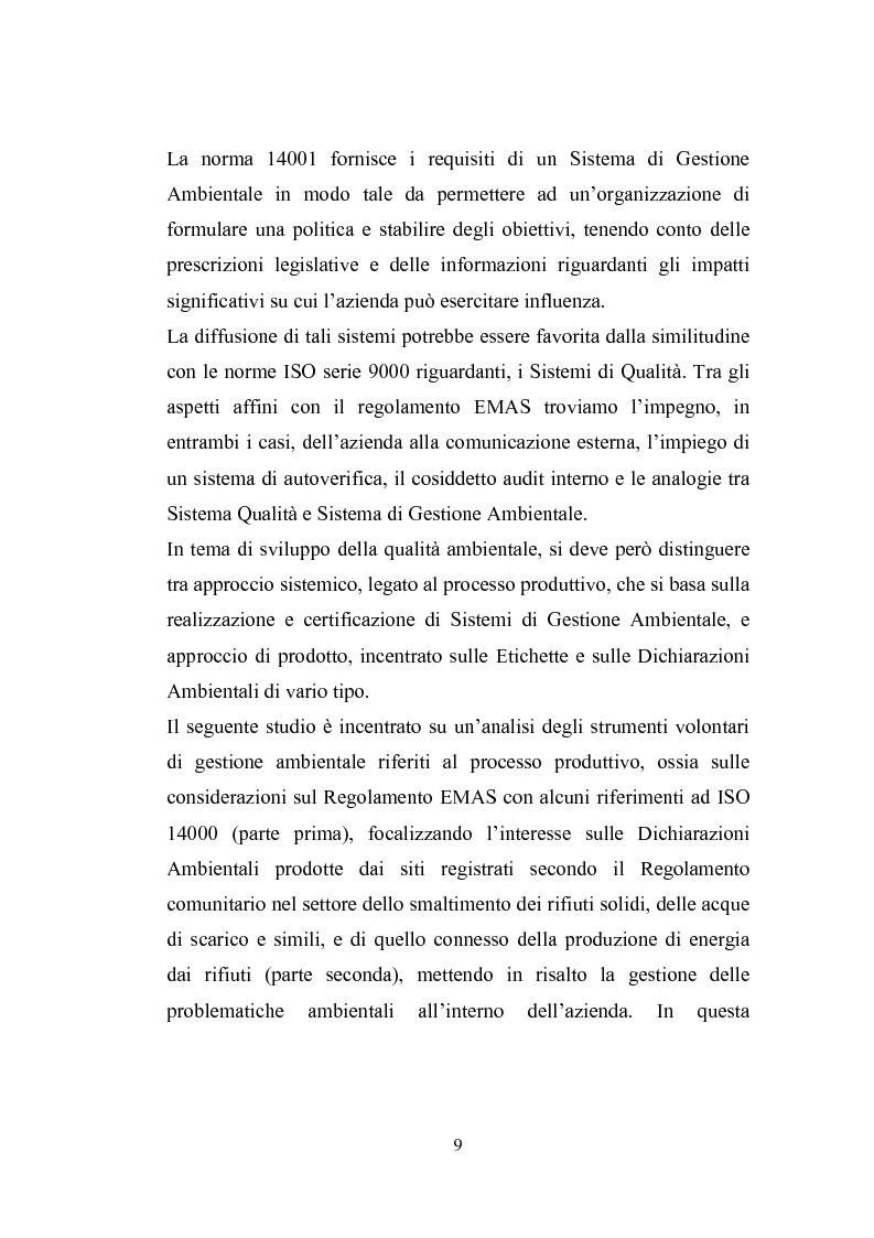 Anteprima della tesi: Studio sugli strumenti volontari di gestione ambientale: Analisi delle dichiarazioni ambientali EMAS relative a cicli di smaltimento dei rifiuti, Pagina 4