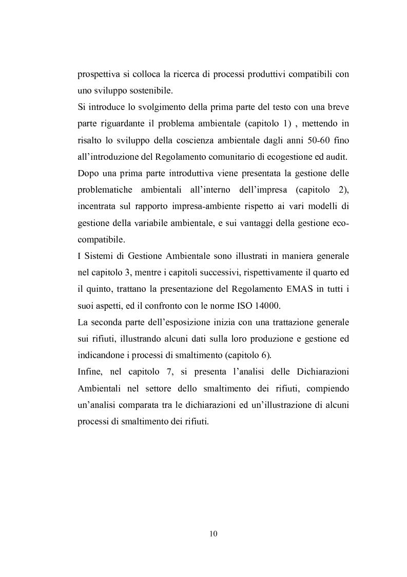 Anteprima della tesi: Studio sugli strumenti volontari di gestione ambientale: Analisi delle dichiarazioni ambientali EMAS relative a cicli di smaltimento dei rifiuti, Pagina 5