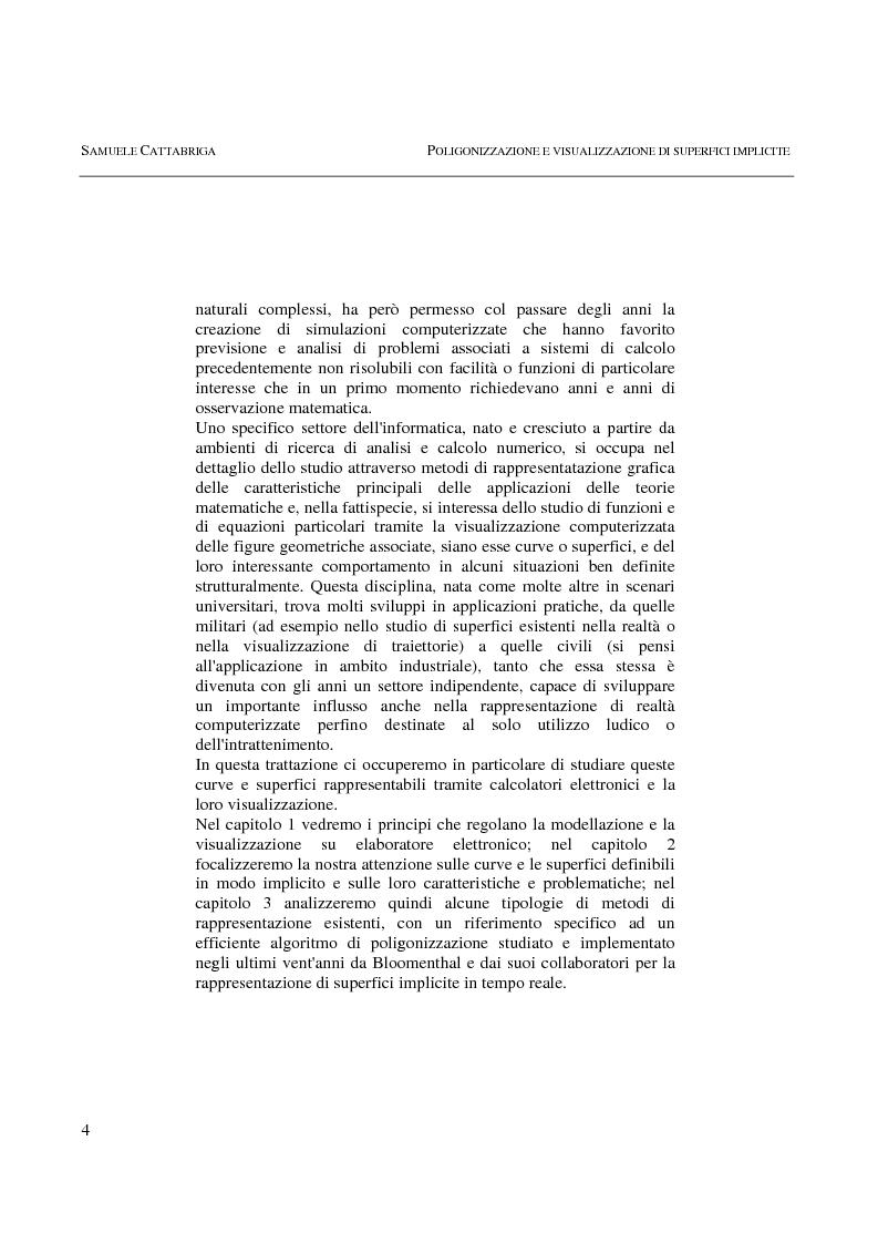 Anteprima della tesi: Poligonizzazione e Visualizzazione di Superfici Implicite, Pagina 2