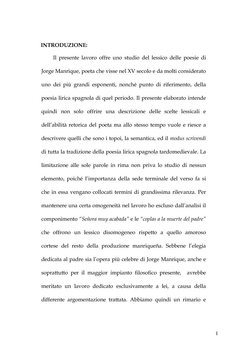 Anteprima della tesi: Rimario e lessico in rima delle poesie di Jorge Manrique, Pagina 1