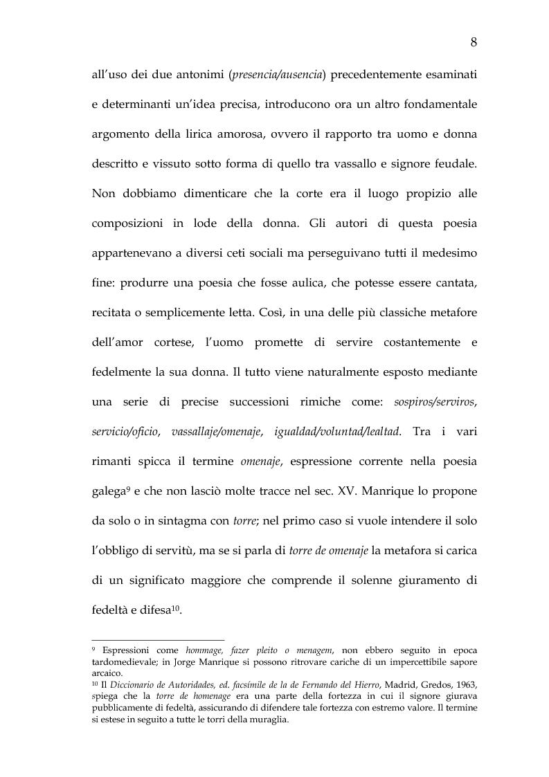 Anteprima della tesi: Rimario e lessico in rima delle poesie di Jorge Manrique, Pagina 14