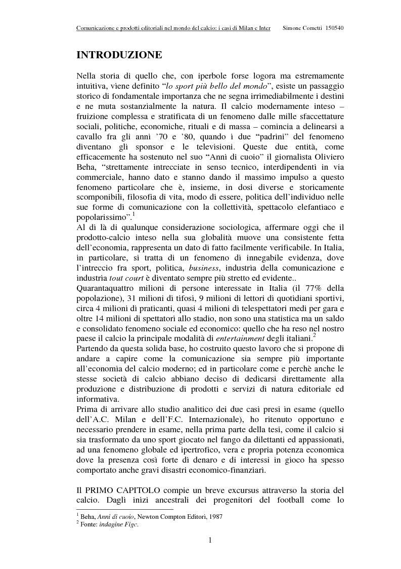 Anteprima della tesi: Comunicazione e prodotti editoriali nel mondo del calcio - I casi di Milan e Inter, Pagina 1