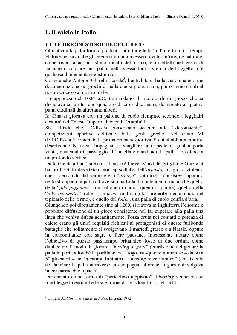 Anteprima della tesi: Comunicazione e prodotti editoriali nel mondo del calcio - I casi di Milan e Inter, Pagina 5