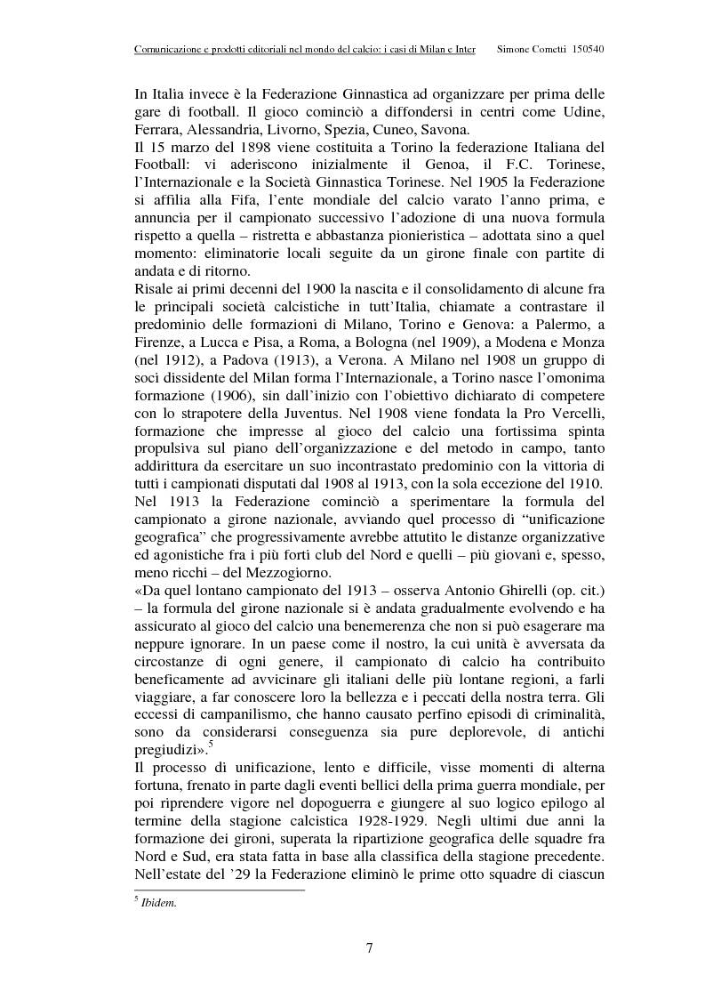 Anteprima della tesi: Comunicazione e prodotti editoriali nel mondo del calcio - I casi di Milan e Inter, Pagina 7