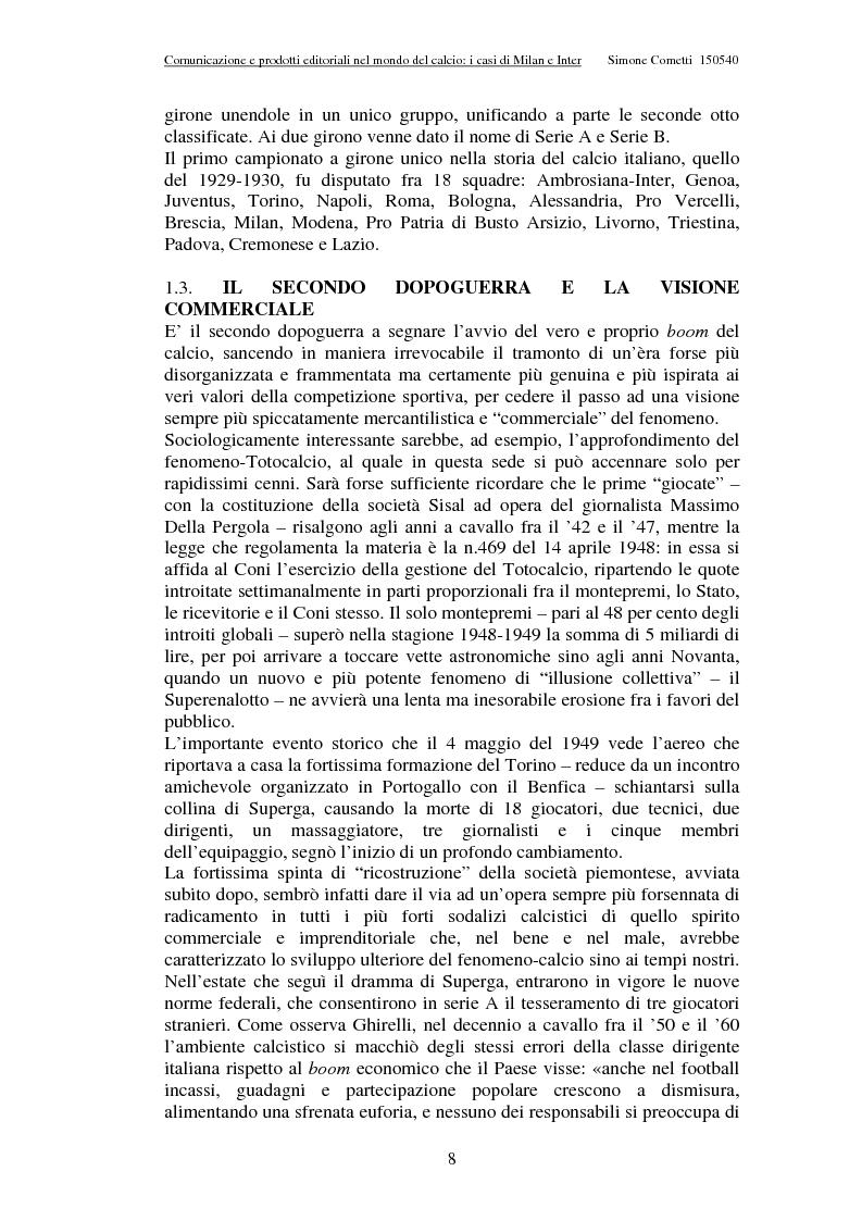 Anteprima della tesi: Comunicazione e prodotti editoriali nel mondo del calcio - I casi di Milan e Inter, Pagina 8