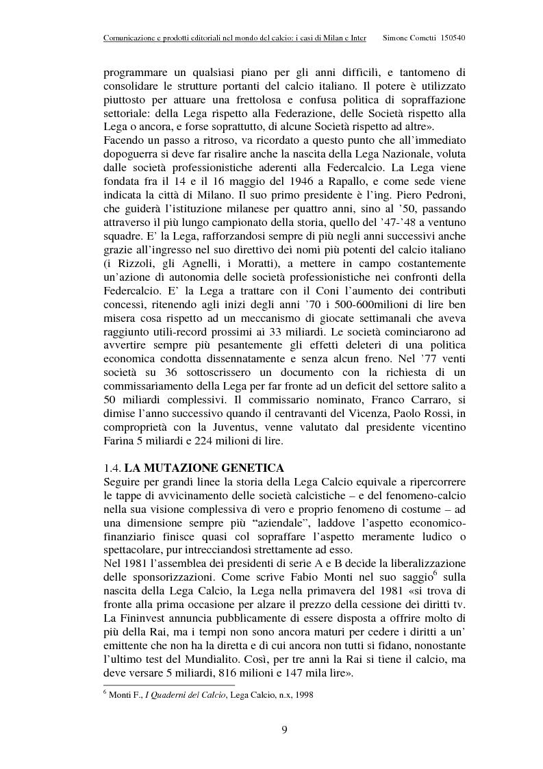 Anteprima della tesi: Comunicazione e prodotti editoriali nel mondo del calcio - I casi di Milan e Inter, Pagina 9