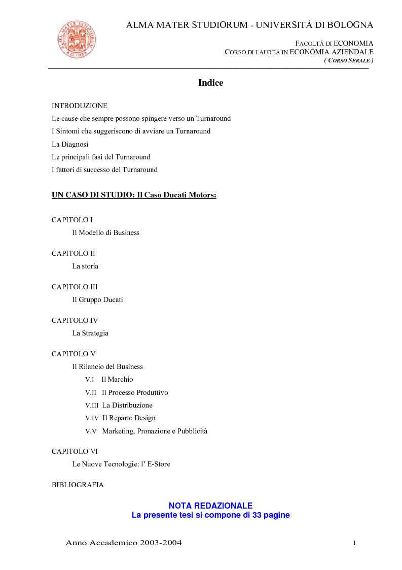 Indice della tesi: Business turnaround: il caso Ducati Motors, Pagina 1