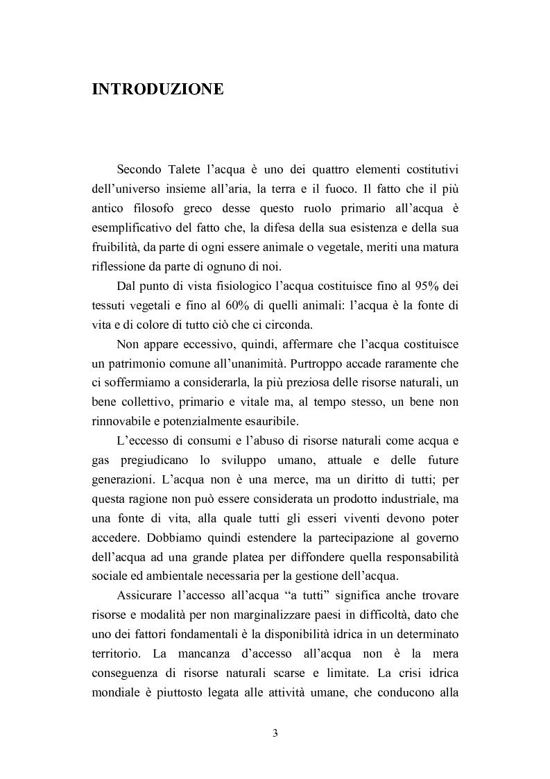 """Anteprima della tesi: """"Acqua: Bene di tutti"""". Fonte di vita o prodotto industriale? Sviluppo sostenibile e Privatizzazione delle risorse idriche., Pagina 1"""