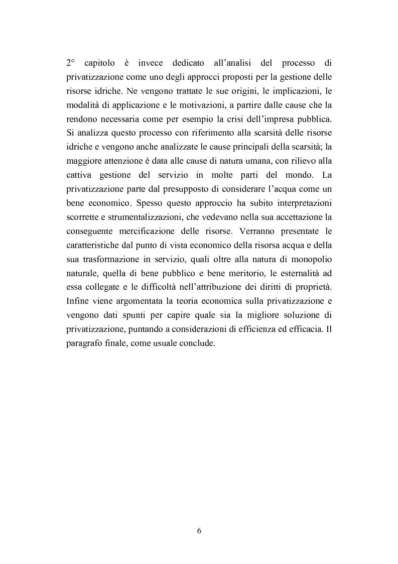 """Anteprima della tesi: """"Acqua: Bene di tutti"""". Fonte di vita o prodotto industriale? Sviluppo sostenibile e Privatizzazione delle risorse idriche., Pagina 4"""