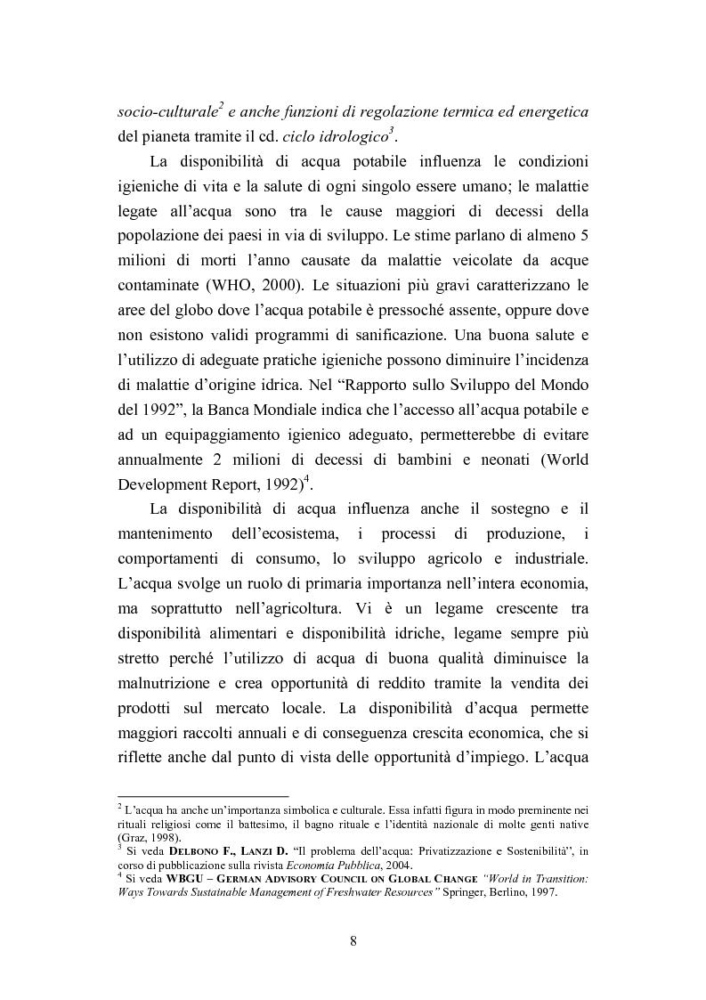 """Anteprima della tesi: """"Acqua: Bene di tutti"""". Fonte di vita o prodotto industriale? Sviluppo sostenibile e Privatizzazione delle risorse idriche., Pagina 6"""