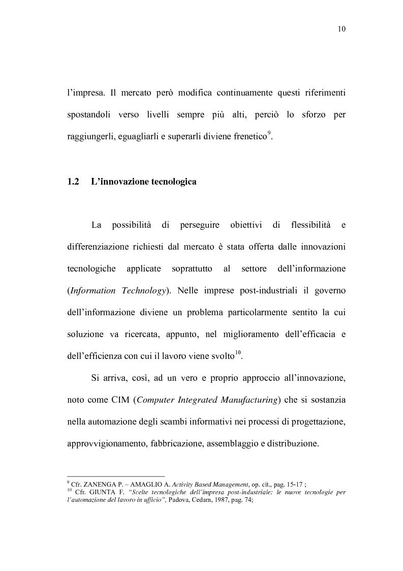 Anteprima della tesi: Il Controlling Costs quale indispensabile strumento di efficienza gestionale dell'impresa moderna, Pagina 10