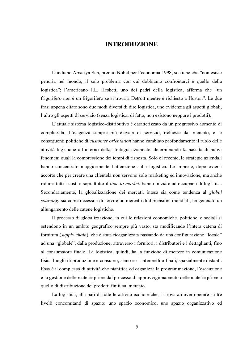Anteprima della tesi: La logistica come fattore competitivo di sistema, Pagina 1