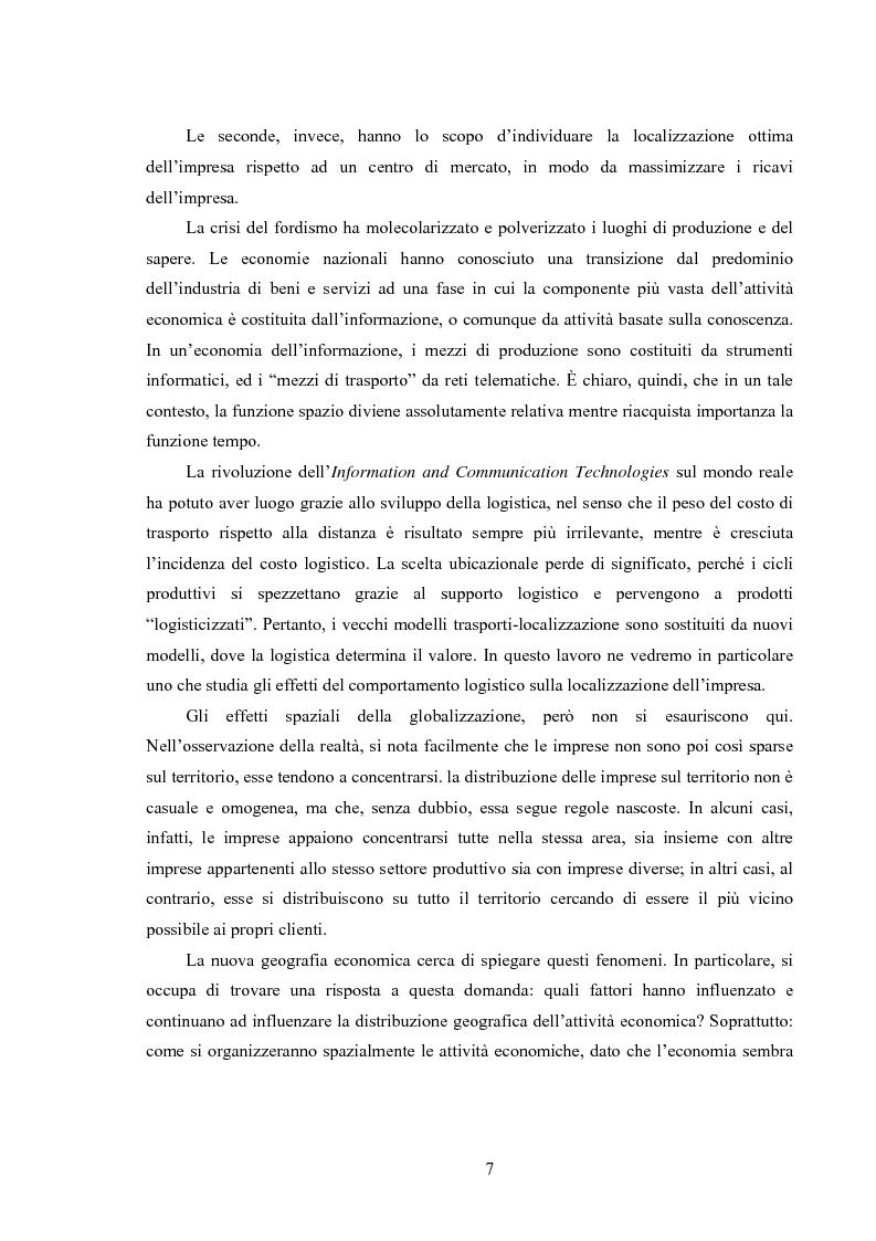 Anteprima della tesi: La logistica come fattore competitivo di sistema, Pagina 3
