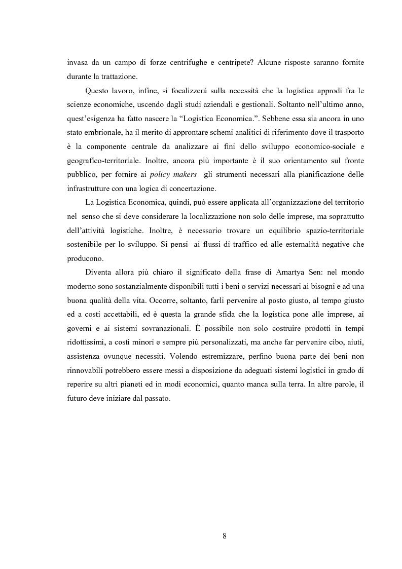 Anteprima della tesi: La logistica come fattore competitivo di sistema, Pagina 4