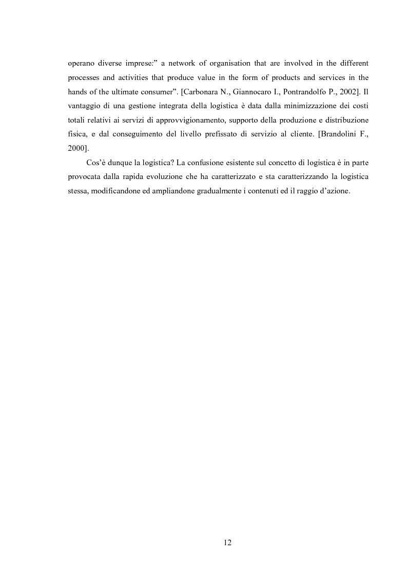 Anteprima della tesi: La logistica come fattore competitivo di sistema, Pagina 8