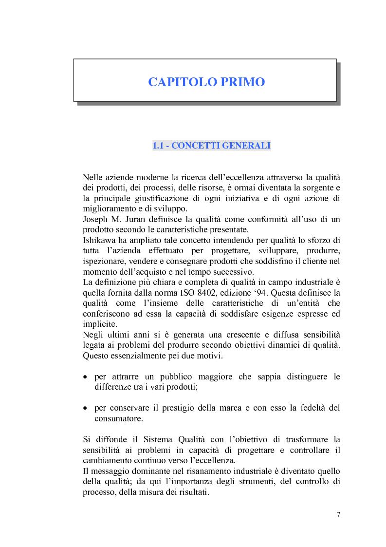 """Anteprima della tesi: Il controllo statistico di qualità - il caso """"So.Ge.Co."""", Pagina 1"""