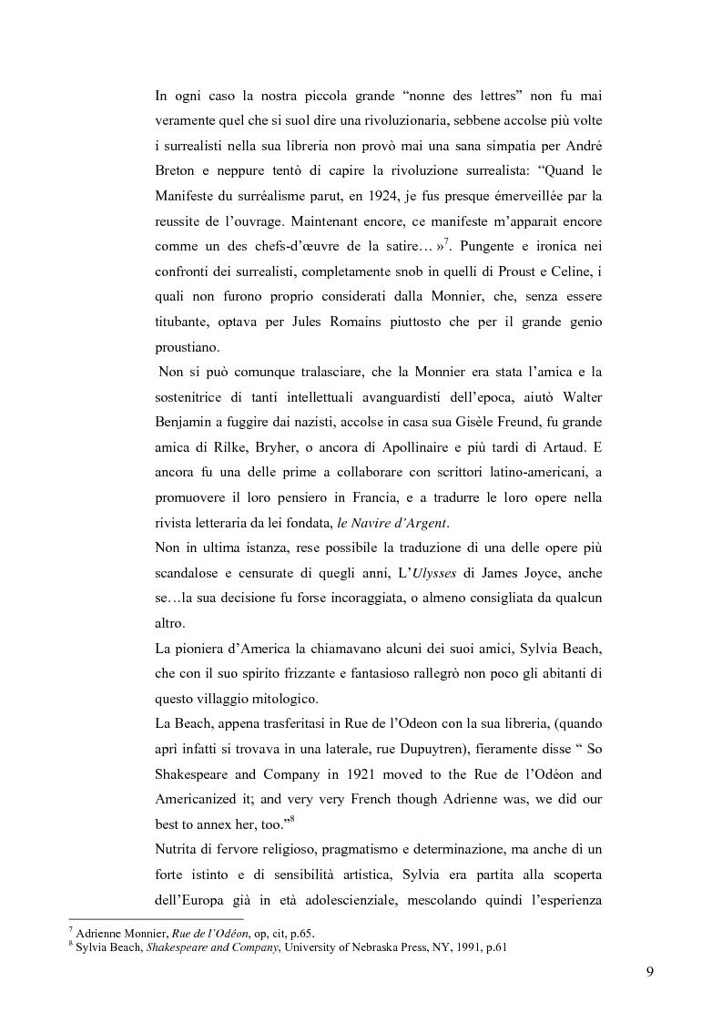 Anteprima della tesi: Conversazioni transatlantiche: Adrienne Monnier e Sylvia Beach nella Parigi degli anni Venti., Pagina 8