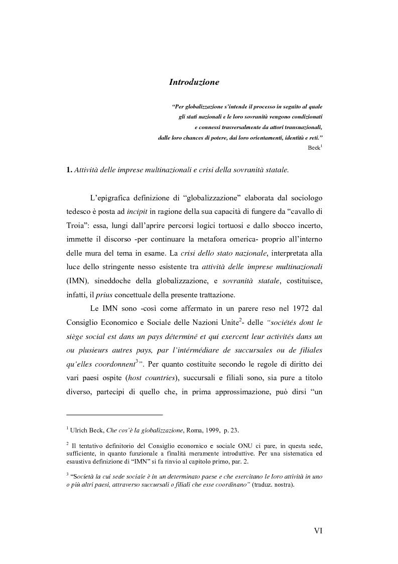 Anteprima della tesi: Il c.d. Approccio transnazionale al controllo delle attività delle imprese multinazionali: il fenomeno dei codici di condotta privati, Pagina 1