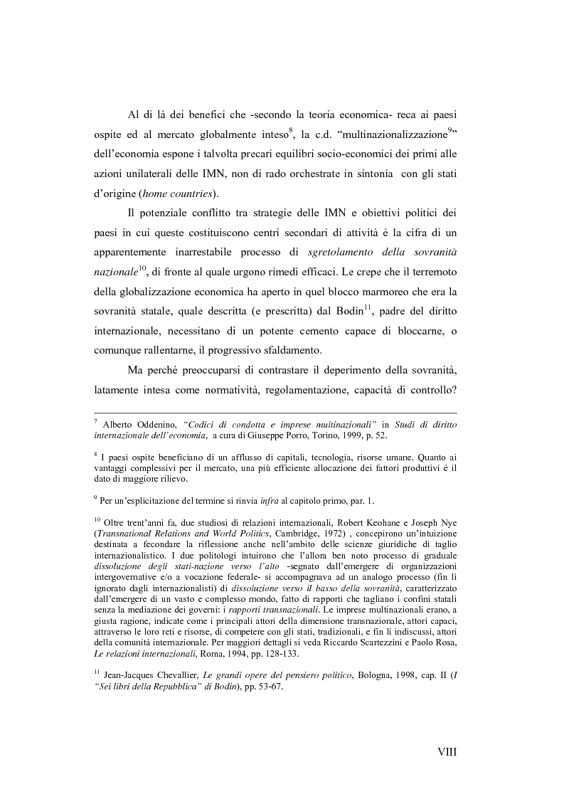 Anteprima della tesi: Il c.d. Approccio transnazionale al controllo delle attività delle imprese multinazionali: il fenomeno dei codici di condotta privati, Pagina 3